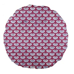 SCALES3 WHITE MARBLE & PINK DENIM (R) Large 18  Premium Flano Round Cushions