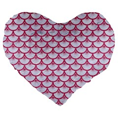 SCALES3 WHITE MARBLE & PINK DENIM (R) Large 19  Premium Flano Heart Shape Cushions