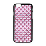SCALES3 WHITE MARBLE & PINK DENIM (R) Apple iPhone 6/6S Black Enamel Case Front