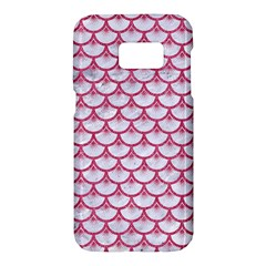 Scales3 White Marble & Pink Denim (r) Samsung Galaxy S7 Hardshell Case