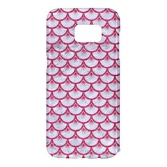 Scales3 White Marble & Pink Denim (r) Samsung Galaxy S7 Edge Hardshell Case