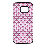 SCALES3 WHITE MARBLE & PINK DENIM (R) Samsung Galaxy S7 Black Seamless Case Front