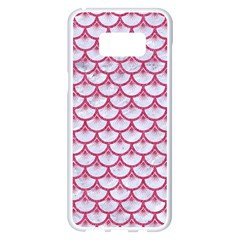 SCALES3 WHITE MARBLE & PINK DENIM (R) Samsung Galaxy S8 Plus White Seamless Case