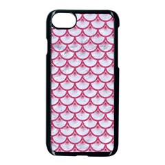 SCALES3 WHITE MARBLE & PINK DENIM (R) Apple iPhone 8 Seamless Case (Black)
