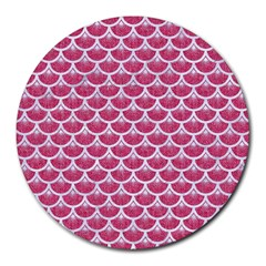 Scales3 White Marble & Pink Denim Round Mousepads