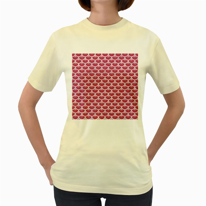 SCALES3 WHITE MARBLE & PINK DENIM Women s Yellow T-Shirt