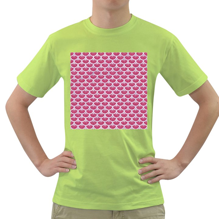 SCALES3 WHITE MARBLE & PINK DENIM Green T-Shirt