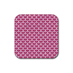 Scales3 White Marble & Pink Denim Rubber Square Coaster (4 Pack)