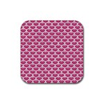 SCALES3 WHITE MARBLE & PINK DENIM Rubber Square Coaster (4 pack)  Front
