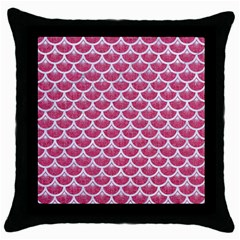 Scales3 White Marble & Pink Denim Throw Pillow Case (black)