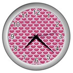 SCALES3 WHITE MARBLE & PINK DENIM Wall Clocks (Silver)  Front