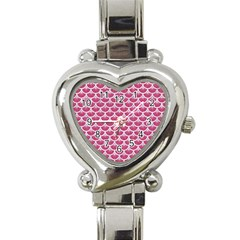 Scales3 White Marble & Pink Denim Heart Italian Charm Watch