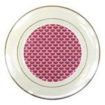 SCALES3 WHITE MARBLE & PINK DENIM Porcelain Plates Front