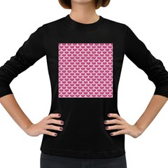 Scales3 White Marble & Pink Denim Women s Long Sleeve Dark T Shirts