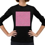 SCALES3 WHITE MARBLE & PINK DENIM Women s Long Sleeve Dark T-Shirts Front
