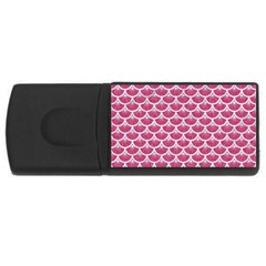 Scales3 White Marble & Pink Denim Rectangular Usb Flash Drive