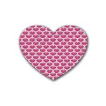 SCALES3 WHITE MARBLE & PINK DENIM Rubber Coaster (Heart)  Front