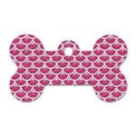 SCALES3 WHITE MARBLE & PINK DENIM Dog Tag Bone (Two Sides) Front