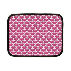 Scales3 White Marble & Pink Denim Netbook Case (small)
