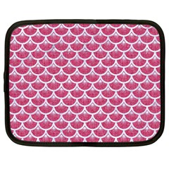 Scales3 White Marble & Pink Denim Netbook Case (large)