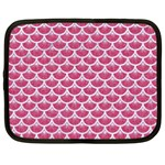 SCALES3 WHITE MARBLE & PINK DENIM Netbook Case (Large) Front