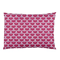 Scales3 White Marble & Pink Denim Pillow Case