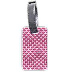 Scales3 White Marble & Pink Denim Luggage Tags (two Sides)