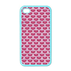 Scales3 White Marble & Pink Denim Apple Iphone 4 Case (color)