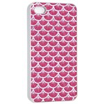 SCALES3 WHITE MARBLE & PINK DENIM Apple iPhone 4/4s Seamless Case (White) Front
