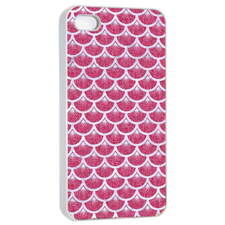 SCALES3 WHITE MARBLE & PINK DENIM Apple iPhone 4/4s Seamless Case (White)