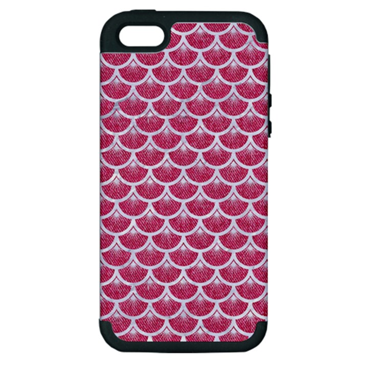 SCALES3 WHITE MARBLE & PINK DENIM Apple iPhone 5 Hardshell Case (PC+Silicone)
