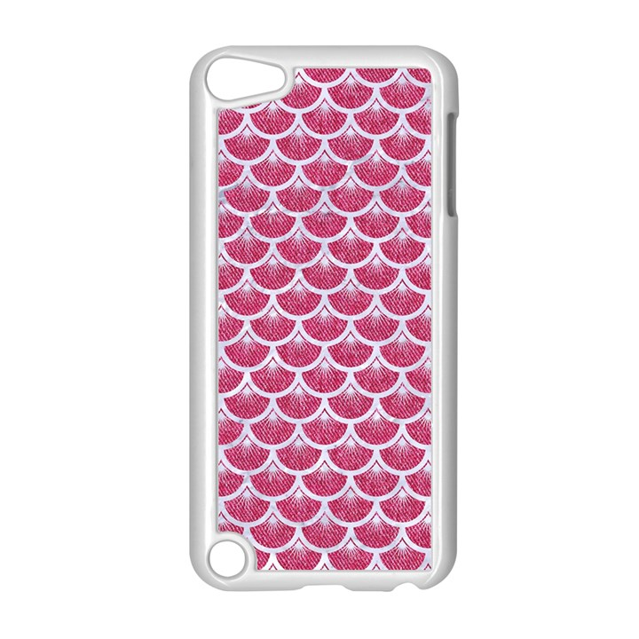 SCALES3 WHITE MARBLE & PINK DENIM Apple iPod Touch 5 Case (White)
