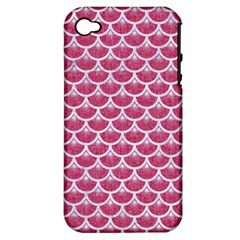 Scales3 White Marble & Pink Denim Apple Iphone 4/4s Hardshell Case (pc+silicone) by trendistuff
