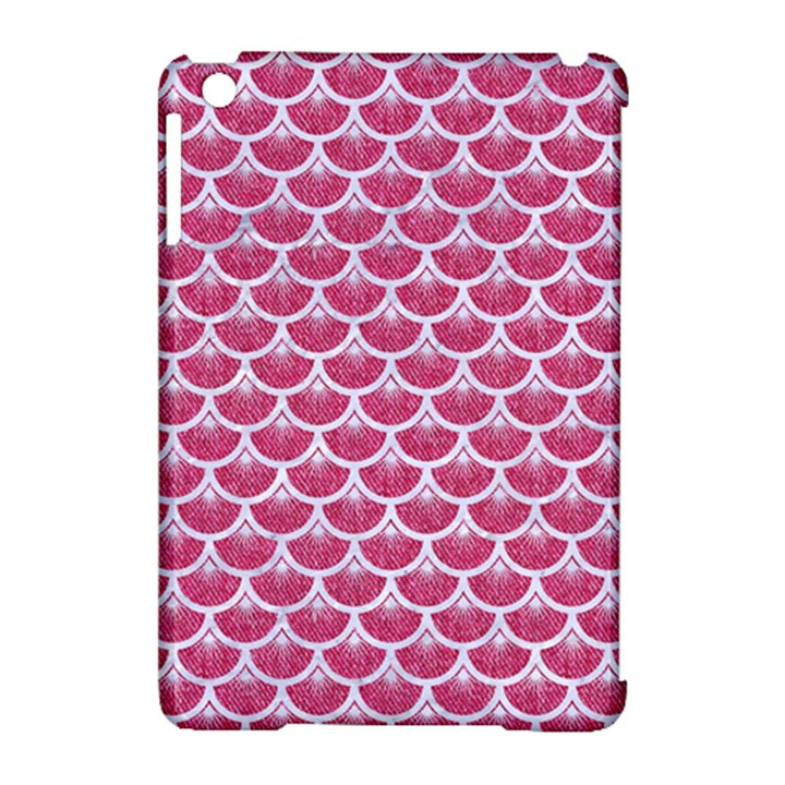 SCALES3 WHITE MARBLE & PINK DENIM Apple iPad Mini Hardshell Case (Compatible with Smart Cover)