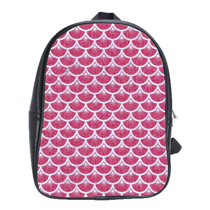 SCALES3 WHITE MARBLE & PINK DENIM School Bag (XL)
