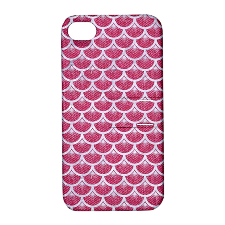 SCALES3 WHITE MARBLE & PINK DENIM Apple iPhone 4/4S Hardshell Case with Stand