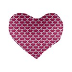SCALES3 WHITE MARBLE & PINK DENIM Standard 16  Premium Flano Heart Shape Cushions Front