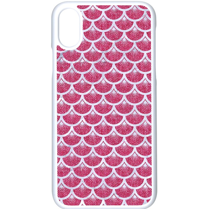 SCALES3 WHITE MARBLE & PINK DENIM Apple iPhone X Seamless Case (White)