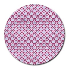 Scales2 White Marble & Pink Denim (r) Round Mousepads by trendistuff