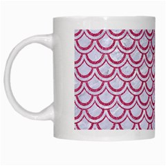 Scales2 White Marble & Pink Denim (r) White Mugs