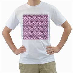 Scales2 White Marble & Pink Denim (r) Men s T Shirt (white) (two Sided) by trendistuff