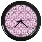 SCALES2 WHITE MARBLE & PINK DENIM (R) Wall Clocks (Black) Front