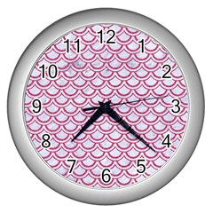 Scales2 White Marble & Pink Denim (r) Wall Clocks (silver)  by trendistuff