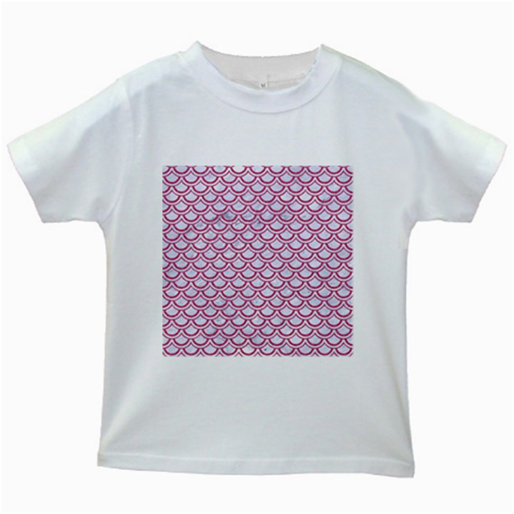 SCALES2 WHITE MARBLE & PINK DENIM (R) Kids White T-Shirts