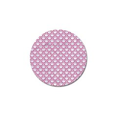 Scales2 White Marble & Pink Denim (r) Golf Ball Marker (10 Pack) by trendistuff