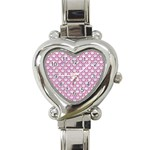 SCALES2 WHITE MARBLE & PINK DENIM (R) Heart Italian Charm Watch Front