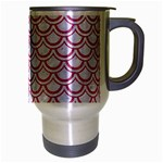 SCALES2 WHITE MARBLE & PINK DENIM (R) Travel Mug (Silver Gray) Right