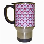 SCALES2 WHITE MARBLE & PINK DENIM (R) Travel Mugs (White) Left