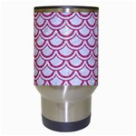 SCALES2 WHITE MARBLE & PINK DENIM (R) Travel Mugs (White) Center