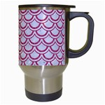 SCALES2 WHITE MARBLE & PINK DENIM (R) Travel Mugs (White) Right